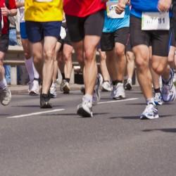 Runners on a half marathon in Stuttgart